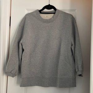 Madewell Gray Oversized Bubble-Sleeve Sweatshirt